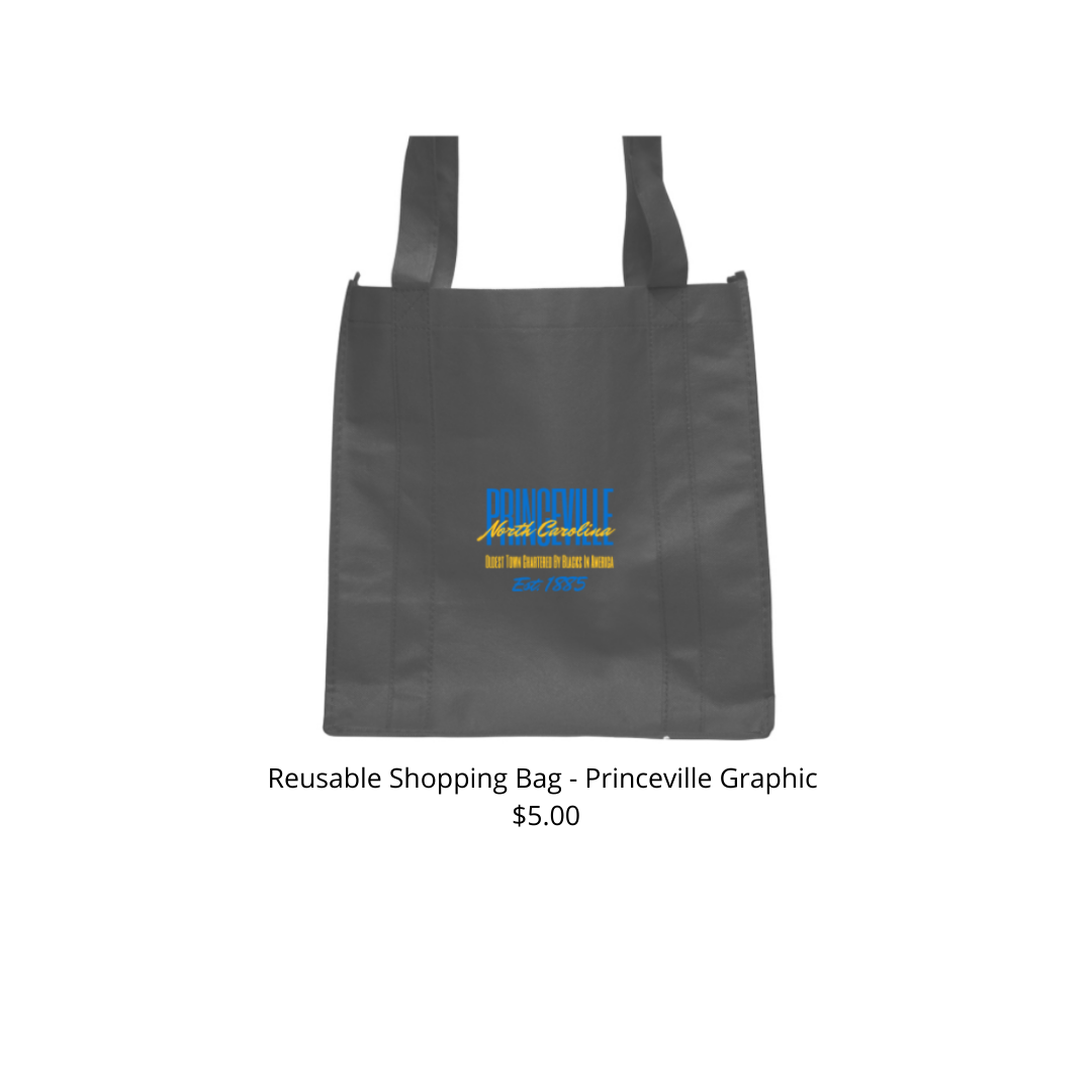 Reusable Shopping Bag Black w/ Yellow & Blue Princeville Design